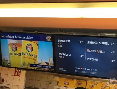 Blick auf die Speisekarte im Stadion am Kurt-Landauer-Weg